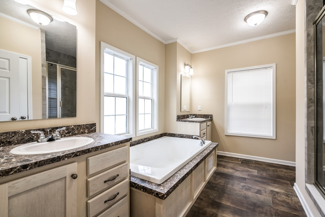 The 2088 HERITAGE Master Bathroom. This Manufactured Mobile Home features 3 bedrooms and 2 baths.
