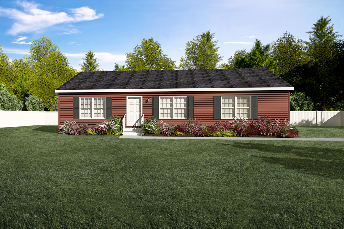 The 2089 52X28 3+2 HERITAGE Exterior. This Manufactured Mobile Home features 3 bedrooms and 2 baths.