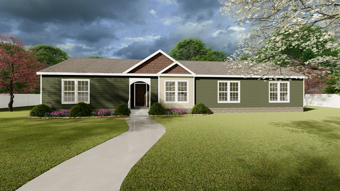The 3333 HERITAGE Exterior. This Modular Home features 3 bedrooms and 2 baths.