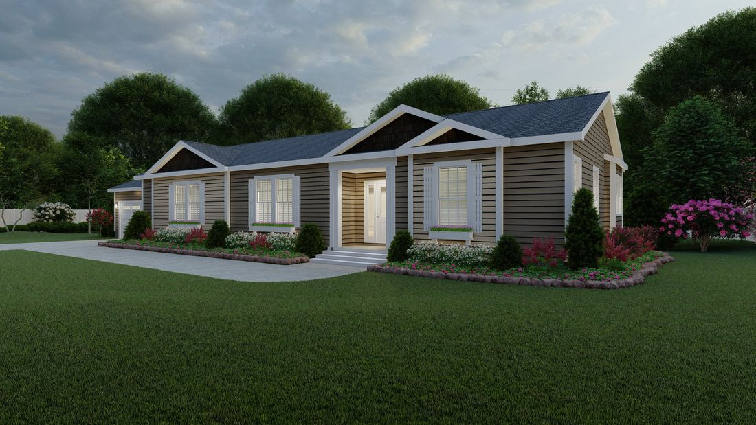 The 2083 HERITAGE Exterior. This Manufactured Mobile Home features 3 bedrooms and 2 baths.